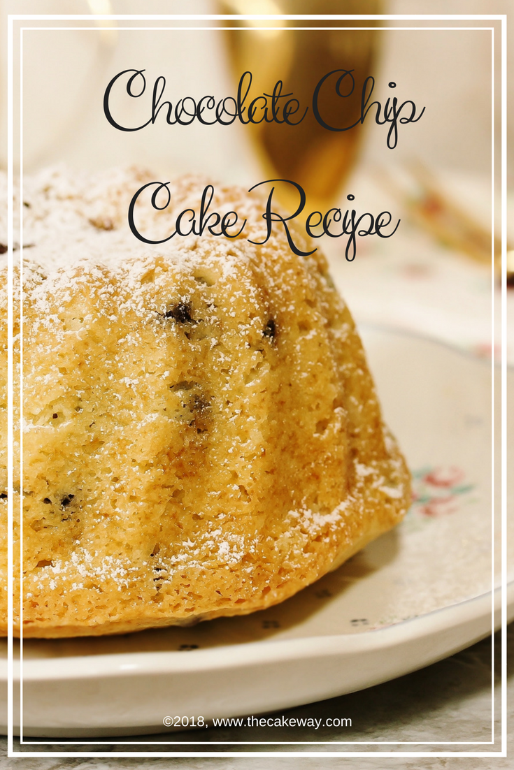 Chocolate Chip Cake Recipe | This Chocolate Chip Cake Recipe is a Favorite in my family it is so delicious and super moist. This cake is such a treat! The Chocolate chip cake is a white cake with chocolate chips throughout. For an extra chocolate presence, I'll show you how to make the chocolate drip to adorn the top and sides of the cake. | http://thecakeway.com/chocolate-chip-cake-recipe