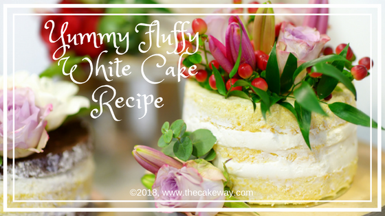 Yummy Fluffy White Cake | This recipe is adapted from my Grandmother's Betty Crocker Recipe Book. It creates a beautifully fluffy yummy white cake. This recipe will make 2 - 8 inch layers. The key is to whip the eggs until they form a stiff peak and gently fold in the remaining batter into the eggs. This creates the light, airy, fluffy goodness that we generally associate with angel food cakes or chiffon cakes. | https://thecakeway.com/yummy-fluffy-white-cake