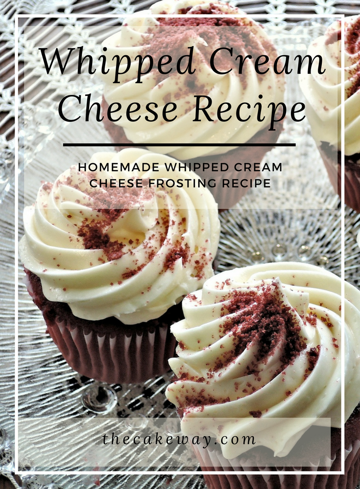 Whipped Cream Cheese Frosting | Whipped Cream Cheese Frosting is a frosting that is rich and creamy and yummy on carrot cakes, red velvet cakes (as pictured above), banana cream cakes, and so many more. | http://thecakeway.com/whipped-cream-cheese-frosting