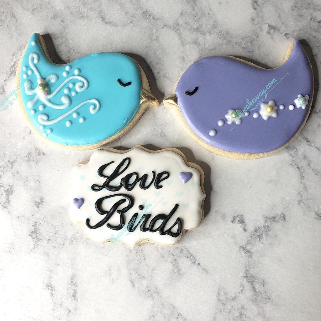 Love Birds Cookie Decorating Tutorial Video | www.thecakeway.com/love-birds/