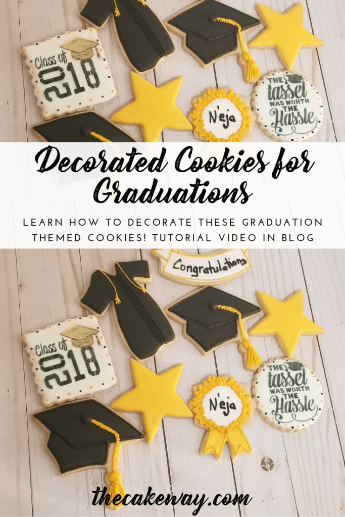 Decorared Cookies for Graduations | https://thecakeway.com/decorated-cookies-for-graduations/