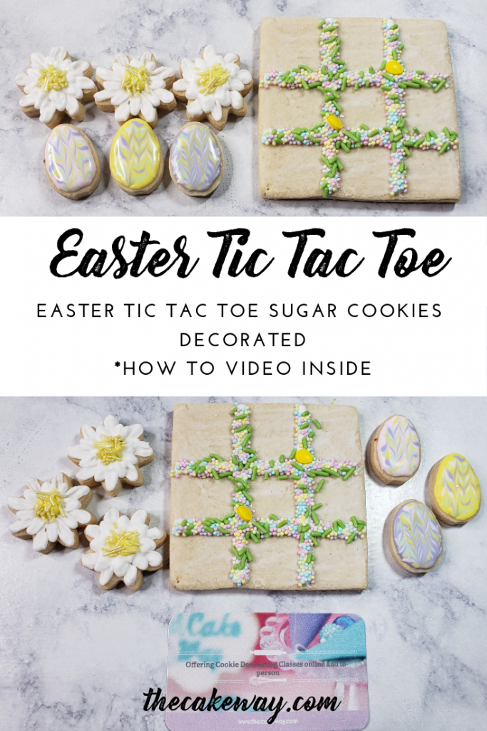 Tic Tac Toe Easter Cookies Decorated | https://thecakeway.com/tic-tac-toe-easter-cookies-decorated/