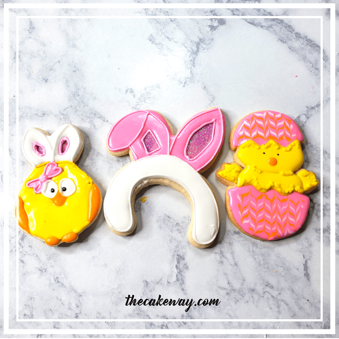 Bunny Ear Easter Cookies Decorated | https://thecakeway.com/bunny-ear-cookies-decorated/