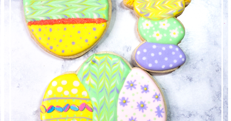 Easter Egg Cookies Decorated | https://thecakeway.com/easter-egg-cookies/