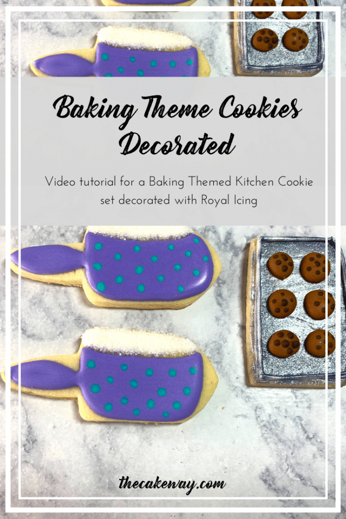 Baking Theme Cookies Decorated | Cookie decorating video tutorial for a baking theme set of cookies. Watch along to see how these kitchen-themed cookies were decorated   https://thecakeway.com/baking-themed-cookies-decorated/