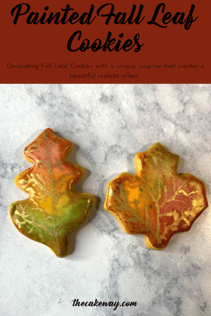 These Painted Fall Leaf Cookies are the perfect way to bring out a little bit of Fall even with cookies. The cookies were created with <see more> | Painted Fall Leaf Cookies | https://thecakeway.com/painted-fall-leaf-cookies/
