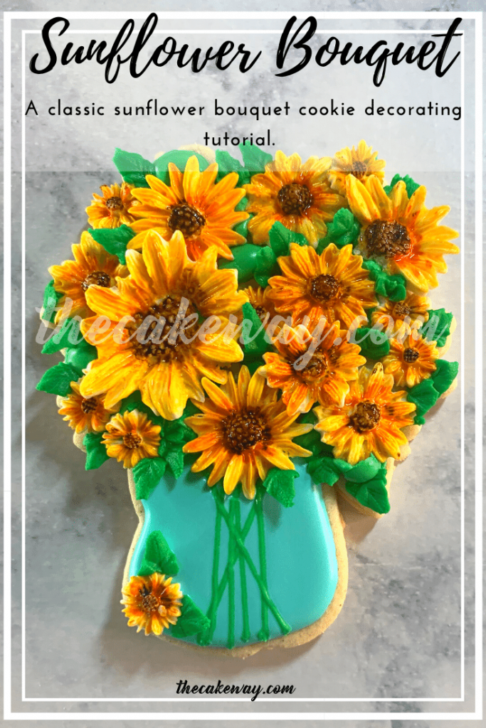 Sunflower Bouquet Cookies Decorated |  Cookie decorating video tutorial for a sunflower vase bouquet set of cookies. Watch along to see how these sunflower bouquet cookies were decorated. | https://thecakeway.com/sunflower-bouquet-cookies-decorated/
