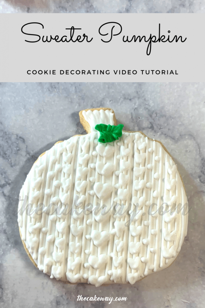 Sweater Pumpkn Cookies Decorated | https://thecakeway.com/sweater-pumpkin-cookies-decorated/ | Video Tutorial