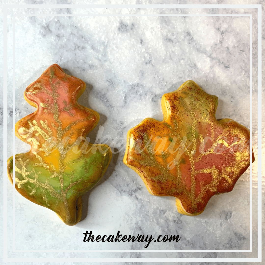 These Painted Fall Leaf Cookies are the perfect way to bring out a little bit of Fall even with cookies. The cookies were created with   Painted Fall Leaf Cookies   https://thecakeway.com/painted-fall-leaf-cookies/