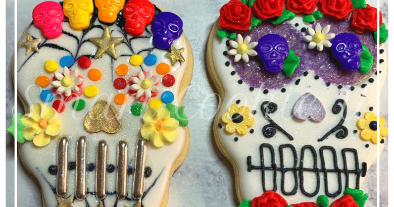 Sugar Skull Cookies Decorated | Ever wondered how to decorate sugar skull cookies without preparing close to 2 million icing colors and consistencies? I did it! Tune in to see how! | https://thecakeway.com/sugar-skull-cookies-decorated/