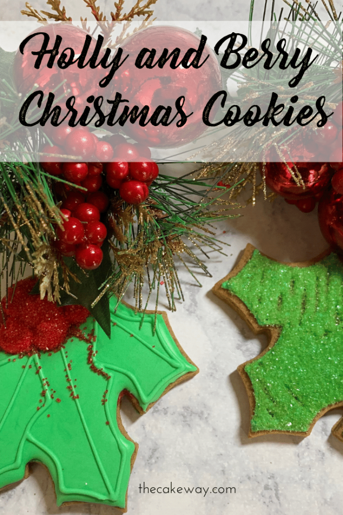 Christmas Holly Cookies Decorated | Some things just make Christmas extra special; like Christmas Holly Cookies that are decorated | https://thecakeway.com/christmas-holly-cookies-decorated/