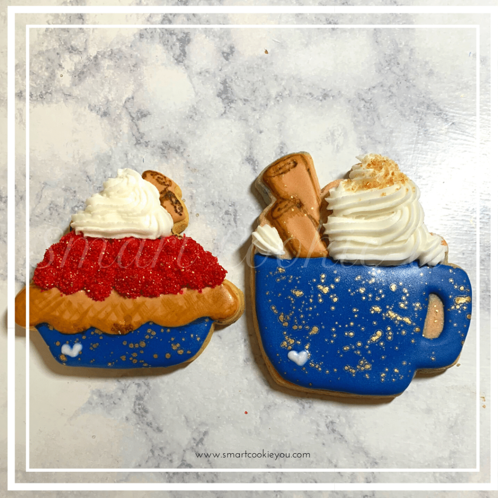 Coffee and Cherry Pie Cookies Decorated | Weekend wind down! Coffee and a slice of pie; so grab your favorite coffee mug and tune in! Cookie Decorating Tutorial Inside! https://thecakeway.com/coffee-and-cherry-pie-cookies-decorated/