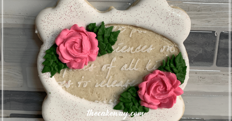 Rose Embellishments | A simply beautiful cookie that is versatile enough to be paired with any theme and is easy enough for a beginner cookie decorator to recreate! Learn how to decorate it! | https://thecakeway.com/rose-embellishments-cookie-decorated/