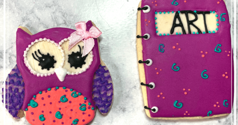 Back to School Cookie Decorating Video | Whooo doesn't love a step by step back to school cookie decorating video? See inside for video... | https://thecakeway.com/a-step-by-step-back-to-school-cookie-decorating-video/