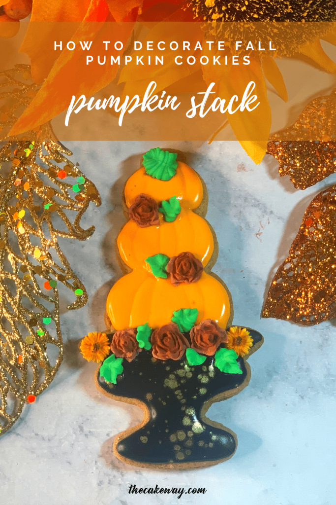 Fall Pumpkin Sugar Cookies Decorated | FALL Pumpkin Sugar Cookies Decorated will show you how to decorate a pumpkin stack cookie set with royal icing using a number of techniques. | https://www.thecakeway.com/fall-pumpkin-sugar-cookies-decorated